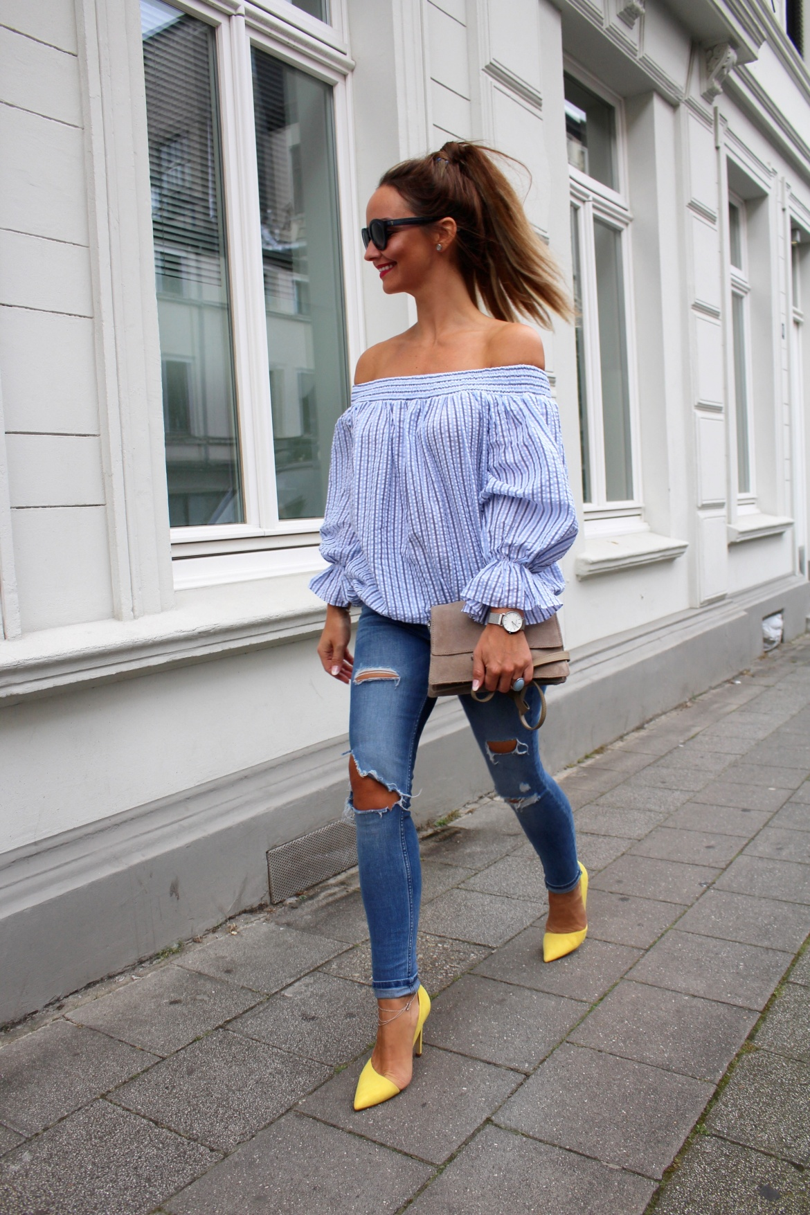 Fashioncircuz by Jenny chicwish-looks1-1170x1755 OFF SHOULDER TREND MEETS YELLOW HIGH HEELS